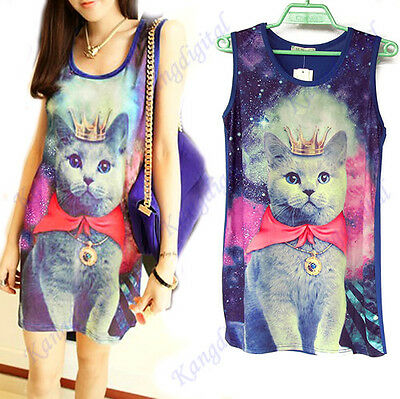 Unisex Galaxy Space Bow Cat Print Graphic Sleeveless Punk Long Tops T-shirt New