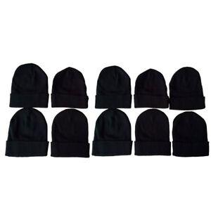 Details about Men Women Plain Solid Black Color Winter Knit Ski Cap Beanies  Hats Wholesale Lot c38d3f8195f