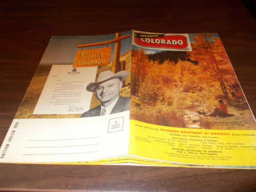 1954 Colorado Stateissued Vintage Road Map and Brochure Beautiful Color!
