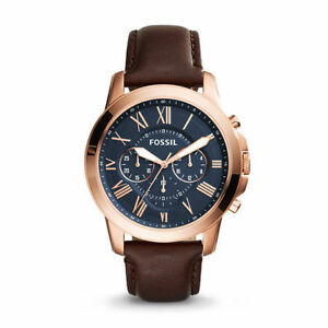 Fossil FS5068 Brown Leather Strap Blue Dial Mens Chronograph Analog...