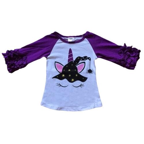 Toddler Baby Girl Icing Ruffle Shirt Unicorn Pumpkin T-shirt Kids Raglan Tee Top