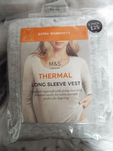 M/&S EXTRA WARM LADIES 2 PACK THERMAL LONG or SHORT SLEEVE VEST size 18 20 or 22