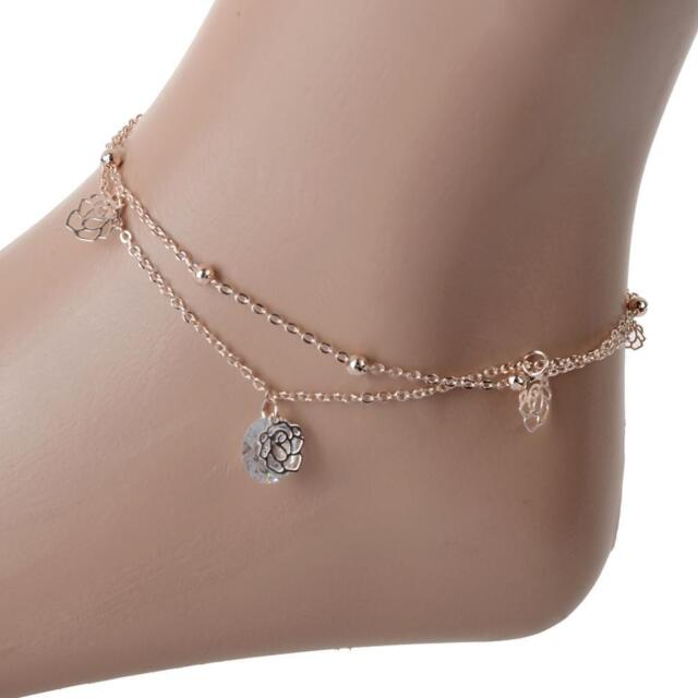 Y Women Double Layer Beads Pendant Rose Gold Ankle Chain Anklet Bracelet Foot