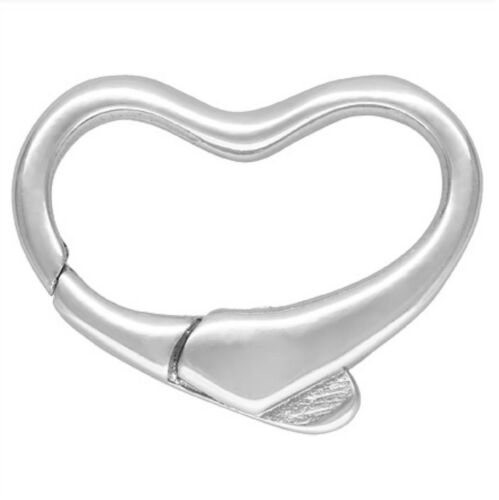BEAD NECKLACE JEWELLERY CLASP CATCH 15mm STERLING SILVER HEART SHAPED PEARL