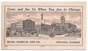 Details about 1893 Sears, Roebuck & Co. Adv. Card for Chicago Plant w/ Map  View & Directions
