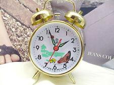 Orologio sveglia Con Gallina Retrò stile anni 60 Carica a Molla in Metallo Oro
