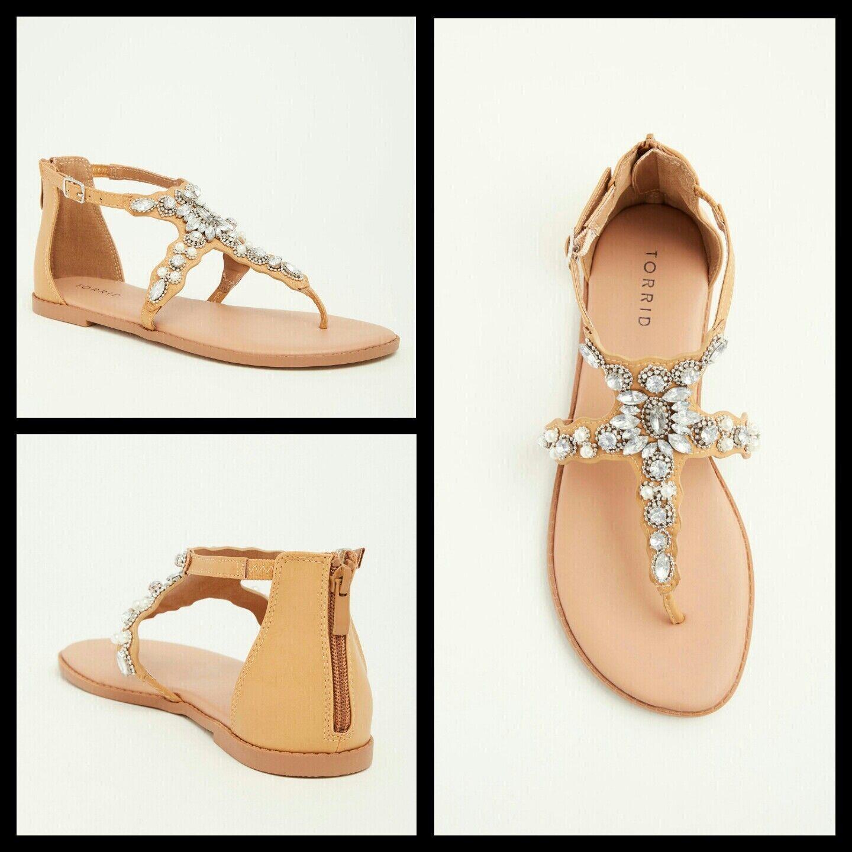 Torrid Women's Sandal Pearls Rhinestones Faux Leather Tan (Wide Width) Size 9W