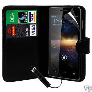 Black-PU-Leather-Wallet-Flip-Case-Cover-Film-amp-Mini-Stylus-For-Various-Phones