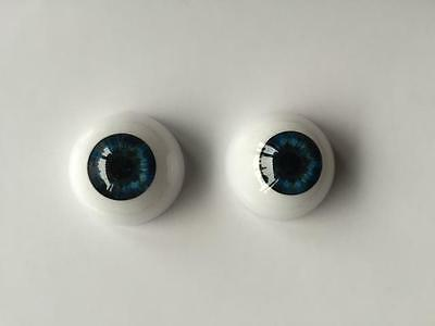20mm Reborn Baby Doll Eyes Dark Blue 20mm Half Round Acrylic 1 Pair handmade