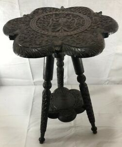 Indian-Wooden-Ebony-Intricately-Hand-Carved-Antique-Side-Table