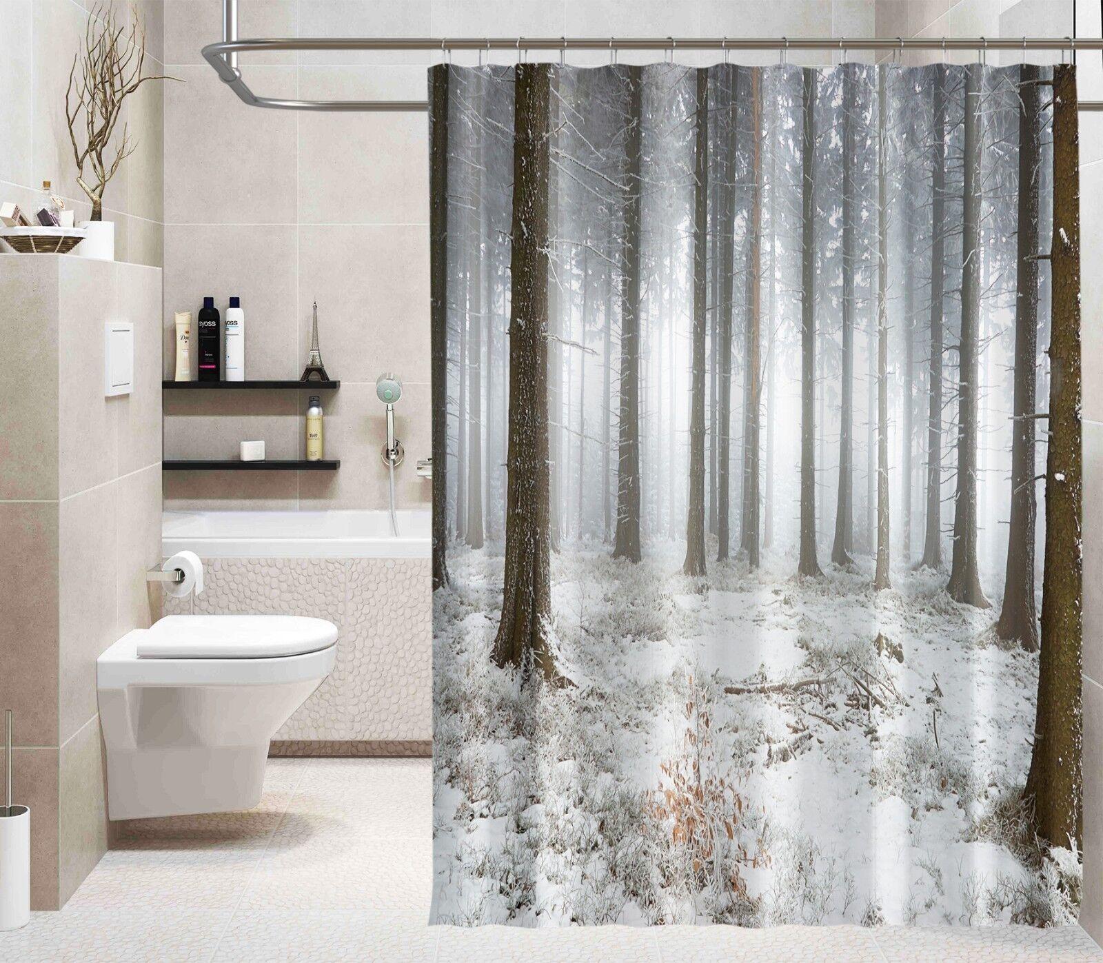 3D Forest Tree 23 Shower Curtain Waterproof Fiber Bathroom Home Windows Toilet