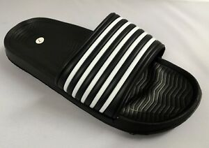 c80d1badf New Mens Black   White Stripe Sliders Slides Sandals Size 6 7 8 9 10 ...