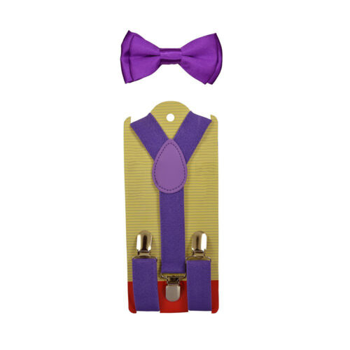 New Suspender Bow Tie Matching Colors Sets for Boys Girls Kids Child Toddler