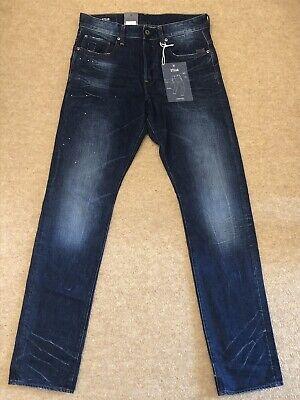 * Bnwt * Da Uomo G-star Raw Stean Affusolato Blu Wisk Denim Jeans Taglia W31 L34-mostra Il Titolo Originale Aspetto Elegante