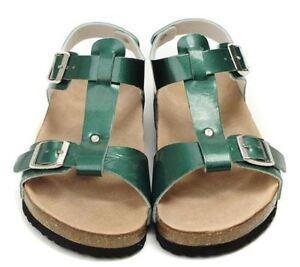 BIRKENSTOCK-Metallic-Patent-Green-ODESSA-Slingback-Cork-Bed-Sandals-EU44-US12