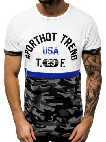 T-shirt manches courtes T-Shirt Avec Motif col rond avec inscriptions Messieurs OZONEE js//ss10983