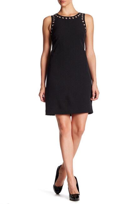 Adrianna Papell damen schwarz Shift Dress Cocktail Sleeveless Grommets Sz 4 NWT
