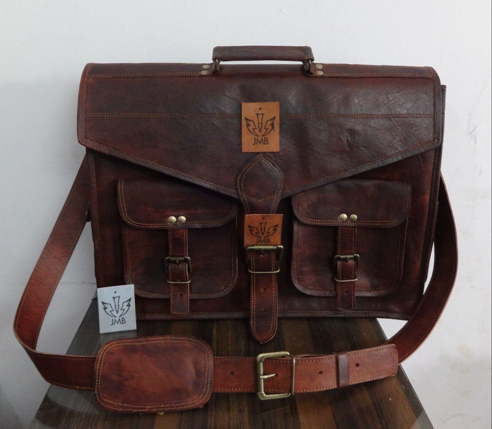 Brown Leather Briefcase Satchel Laptop Messenger Shoulder 46cm Bag JMB TradeMark