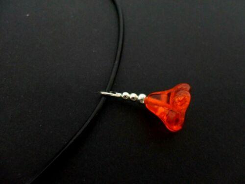 """Un cable de Cuero Negro 13-14/"""" Naranja Flor Gargantilla Collar De Cristal De Bohemia Nueva."""