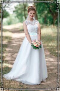 A Linie Weiss Brautkleid Hochzeitskleid Standesamt Spitze Strass