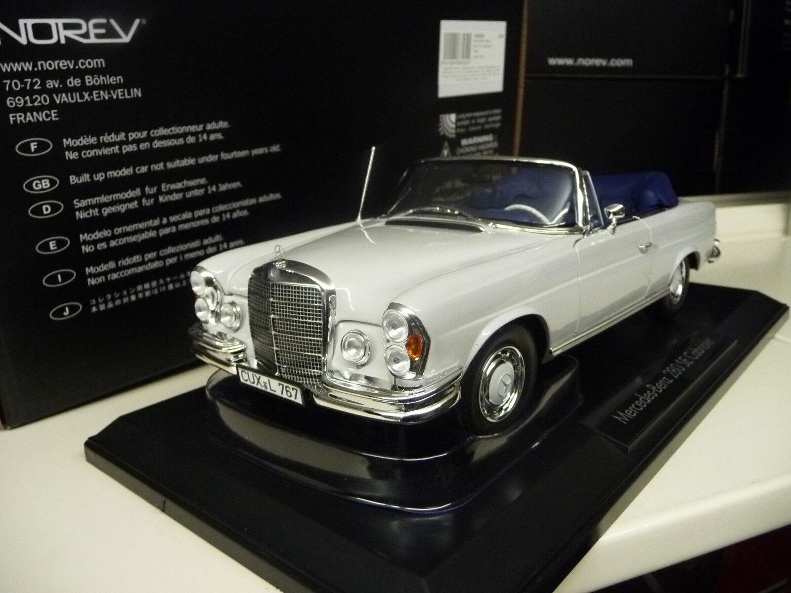 Très, la surprise vous attend 1:18 Norev Mercedes 280se Cabriolet w111 Cabriolet Blanc-Gris Nouveau New   Extravagant