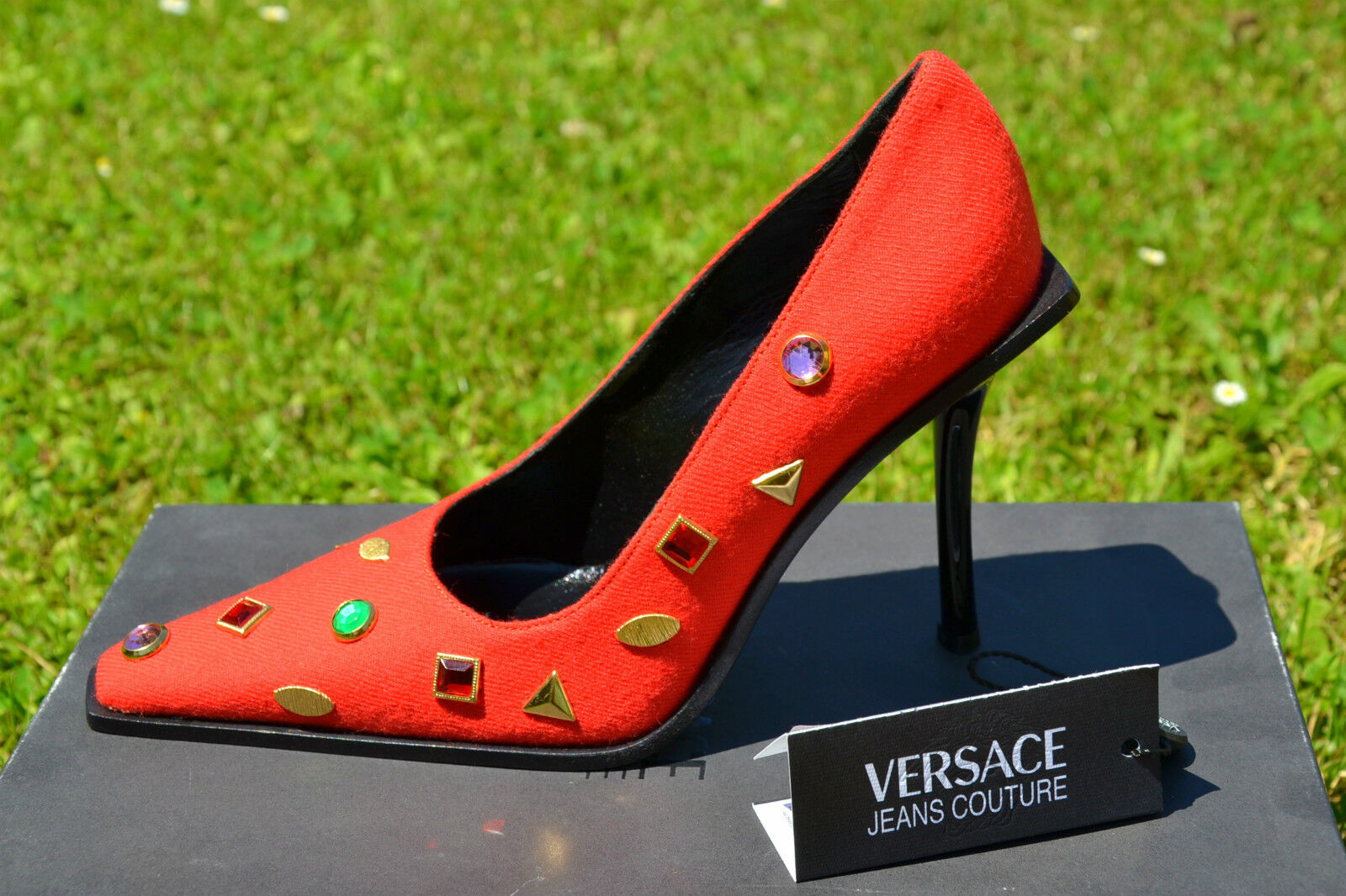 VERSACE New Woman Vtg RARE RARE RARE COLLECTABLE Jewel Lux High Heel Wool shoes sz 36 UK 3 1092ba