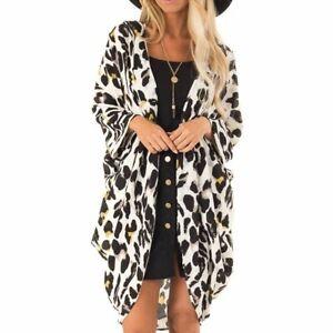 Women-Summer-Boho-Beach-Cover-Up-Leopard-Print-Cardigan-Kimono-Chiffon-Swimwear