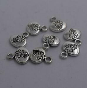 8pcs-Antique-silver-plated-nice-flower-oval-charm-pendant-T0869