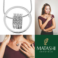 16 Rhodium Plated Necklace W/ Suspended 3d Heart & Clear Crystals By Matashi on sale