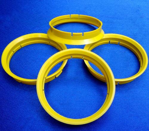 r26 4 Piezas Anillas de centrado 72,5//71,6 mm en amarillo para llantas de aluminio