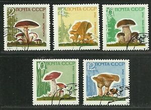 Russia-USSR-CCCP-1964-Very-Fine-Precanceled-Hinged-Stamp-Set-3-034-Mushrooms-034