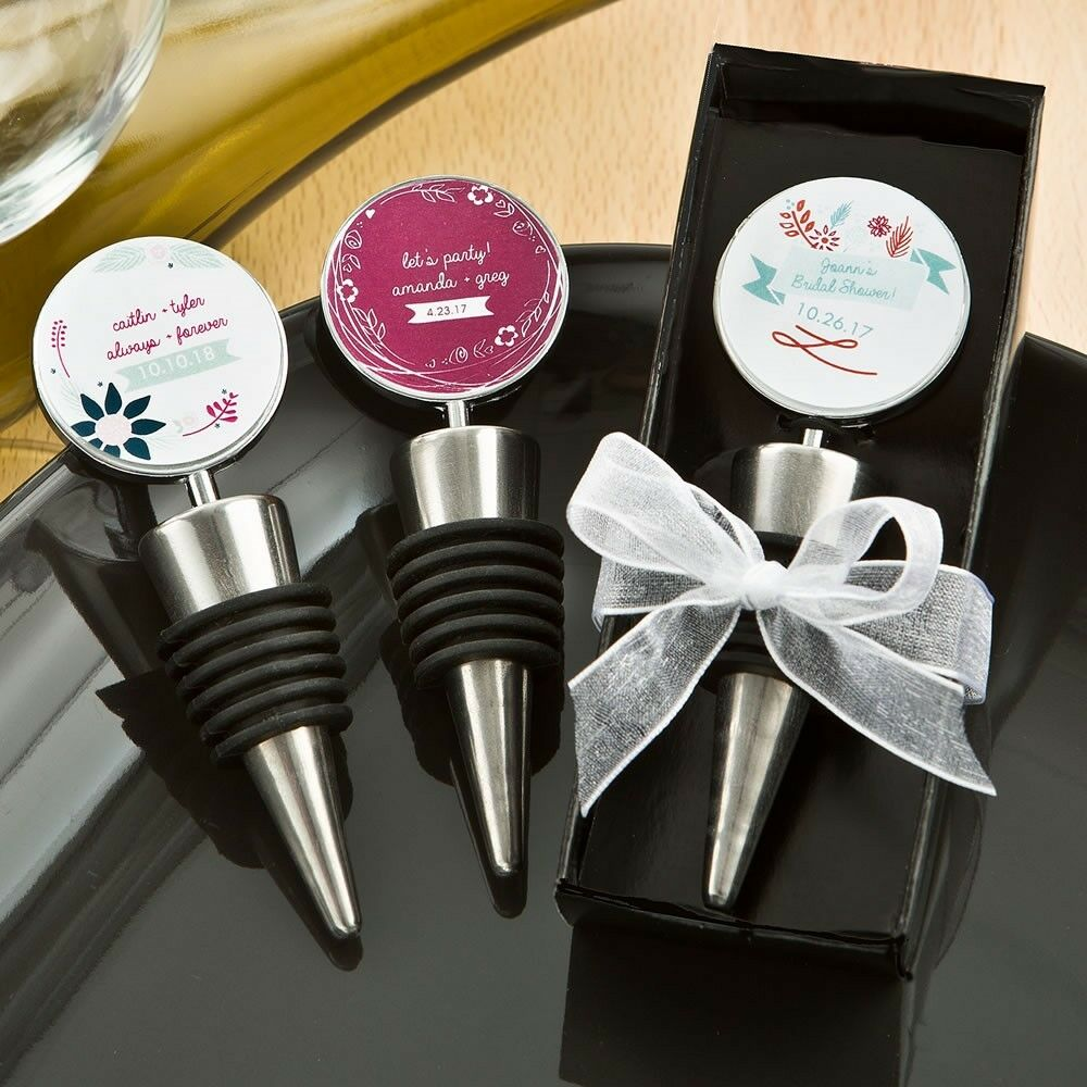 25 Personalized Vintage Bottle Stopper Wedding Bridal Baby Shower Party Favors