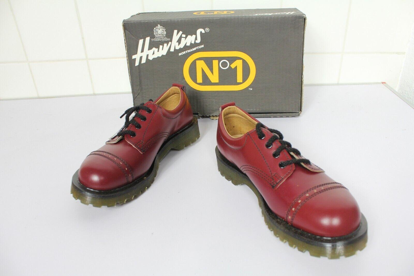 Vintage Dr.Martens Hawkins Schuhe Echtleder Weinrot Eu 39-Uk 6 made in England