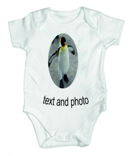 Your Text And Photo Here Funny Baby Vest Grow Bodysuit Personalised Baby Gift
