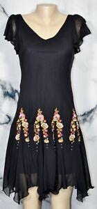 S-L-FASHIONS-PETITE-Black-Dress-4P-Handkerchief-Hem-Beaded-Embroidered-Accents