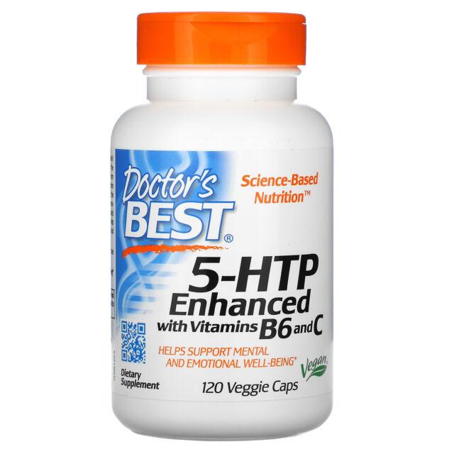 Doctor s Best 5-HTP Enhanced with Vitamins B6  C 120 Veggie Caps Gluten-Free,