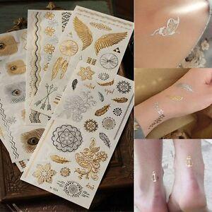 Klebe-Tattoo-Flash-Temporary-Metallic-Einmal-Gold-Silber-Henna-Armband-Kette-NEU