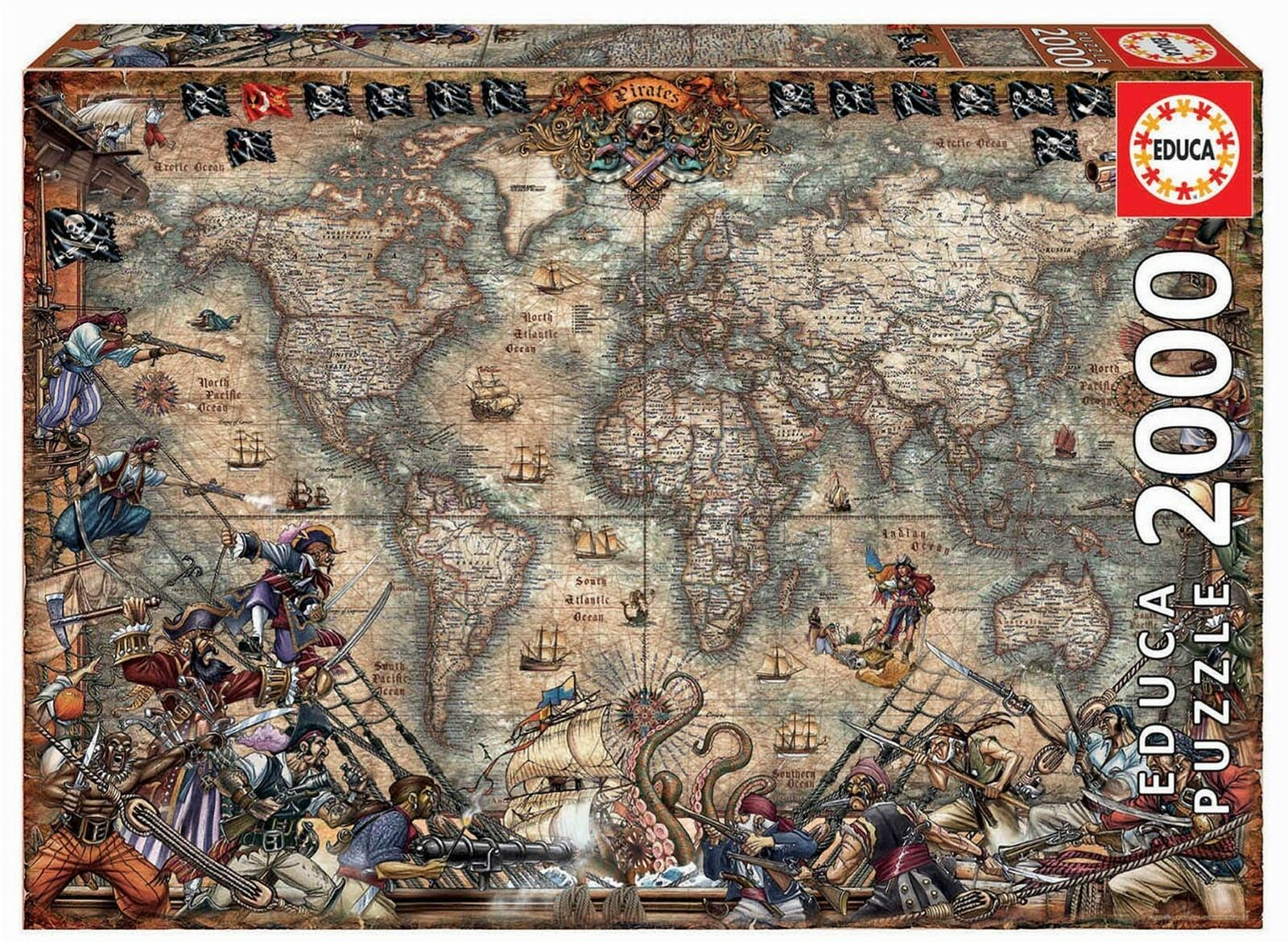 Educa Borrás 18008 Educa Borras Pirate's Pirate's Pirate's Map 2000 Piece Jigsaw Puzzle Multi 87fbb1