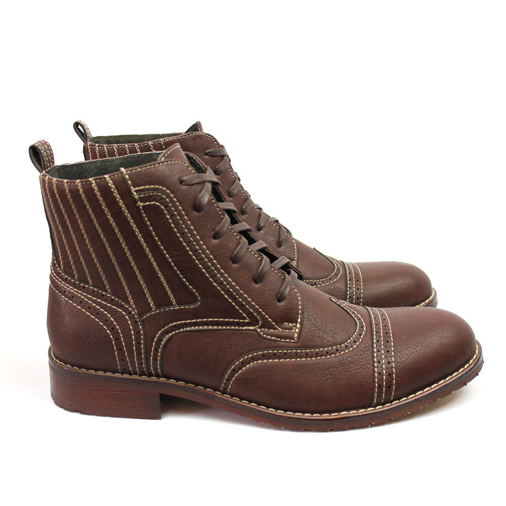 New Men's Brown Ferro Aldo High Top Boots Cap   Wing Tip Toe Leather Lace up NEW