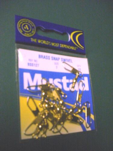 FIVE PACKS OF 12 SIZE 7 MUSTAD BRASS SNAP SWIVELS  #BSS127