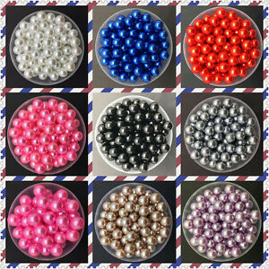 DIY-4mm-6mm-8mm-10mm-Acrylic-No-Hole-Round-Pearl-Loose-Beads-Jewelry-Making-uk