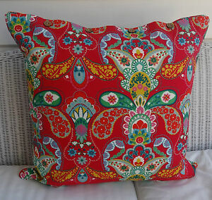 LARGE-60-X-60-CUSHION-COVER-039-FRIDA-039-BRIGHT-MIX-OF-REDS-GREENS-amp-MORE-DAYBED