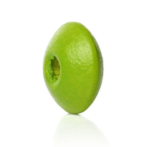 30 Perles intercalaires en Bois Couleur Vert Pomme 10mm Perle rondelle 10 x 5mm