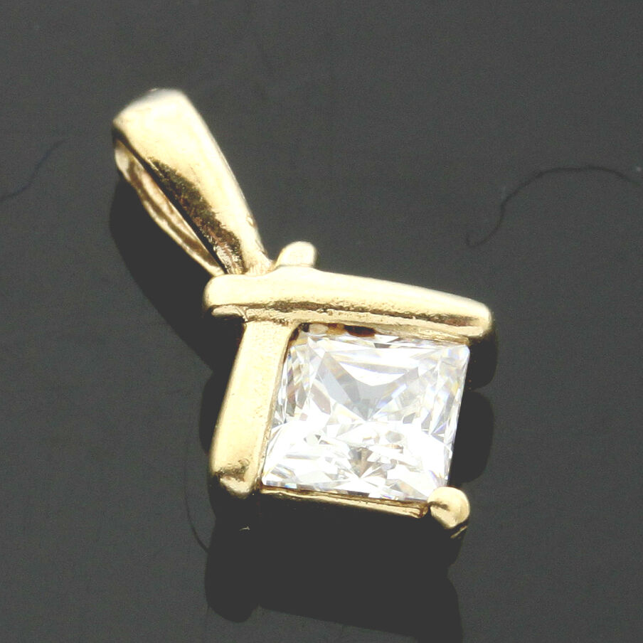 9ct Yellow gold C Z Set  Fancy Pendant - UK MADE