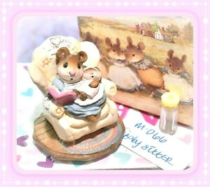 ❤️Wee Forest Folk M-066 Baby Sitter CREAM Blue Dress Pink Baby Mouse 1982❤️