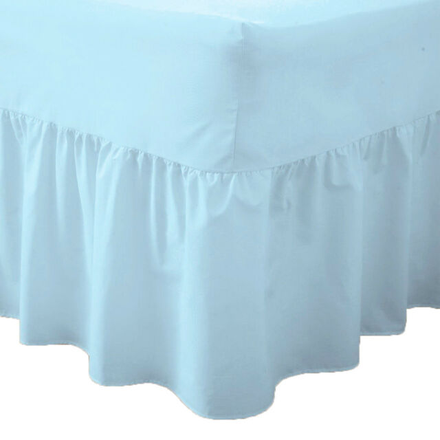 Plain Polycotton Frilled Fitted Valance Sheet Easy Care