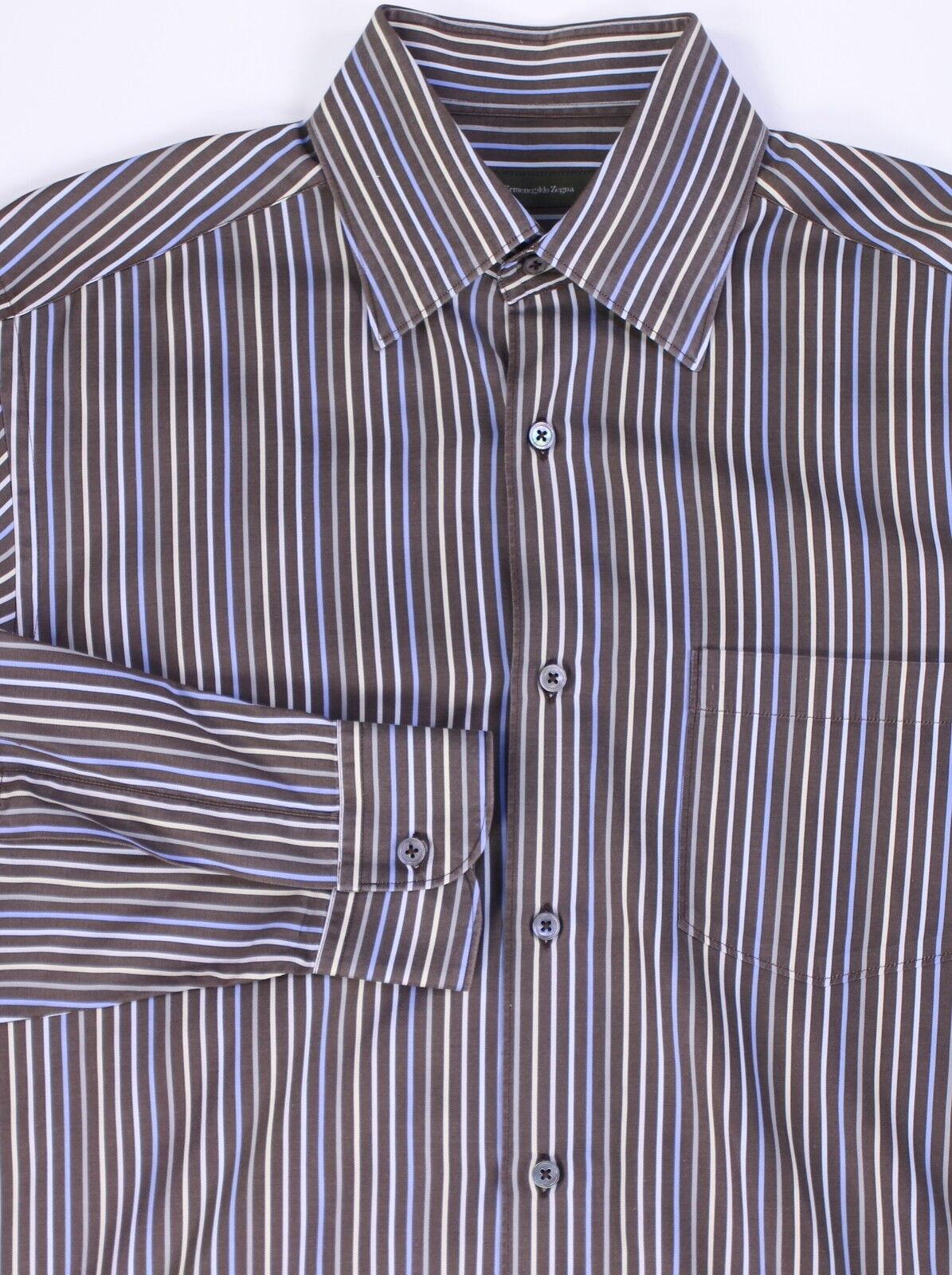 ERMENEGILDO ZEGNA  Brown w  bluee Stripes Cotton Dress Shirt Medium