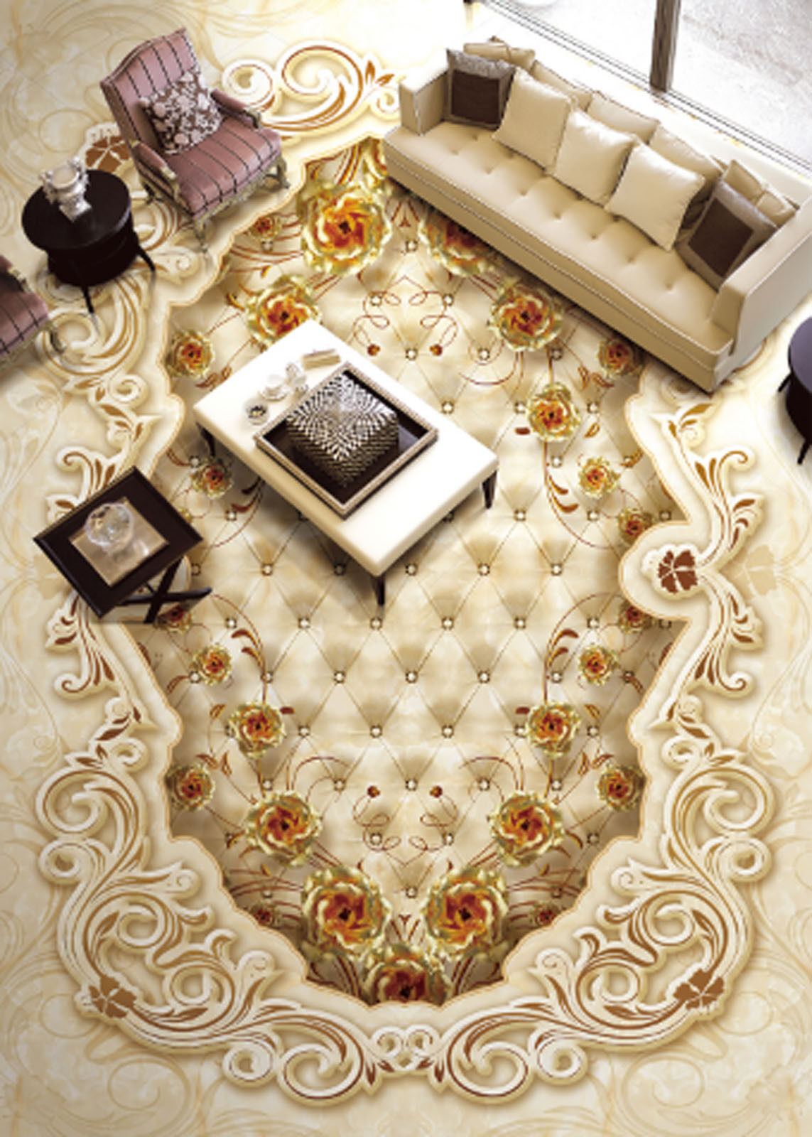 3D Luxury gold pink 48 Floor WallPaper Murals Wallpaper Mural Print AJ AU Lemon