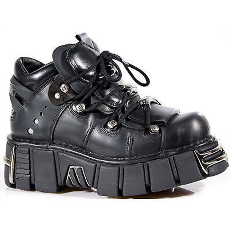 Grandes zapatos con descuento Newrock New Rock 106 Unisex Metallic Black Classic Leather Biker Gothic Boots