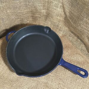 """Le Creuset 26cm 10-1/2"""" Blue Enamel Cast Iron Fry Pan Skillet Handle 2 Spout"""